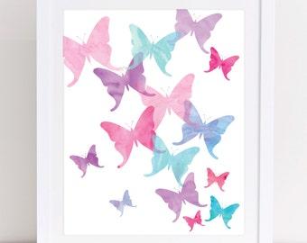 Butterfly Art, Pink and Purple, Butterfly Print, PRINTABLE WALL ART, Watercolor Nursery Art, Girls Room Decor, Girls Nursery Art, Kids Art