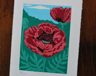 Poppies, 6 colour reduction block print (unmatted)