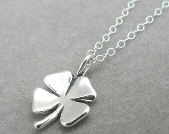 Four Leaf Clover sterling silver lucky charm pendant necklace good luck charm