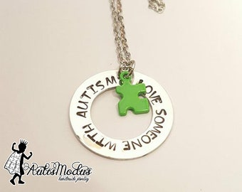I Love Someone With Autism Necklace, Autism Necklace, Color Puzzle Necklace, Autism Awareness, Autism Jewelry, Autism Support, ASD Jewelry