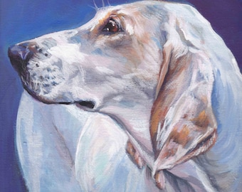 Porcelaine dog portrait art giclee CANVAS print of LA Shepard Painting 8x8