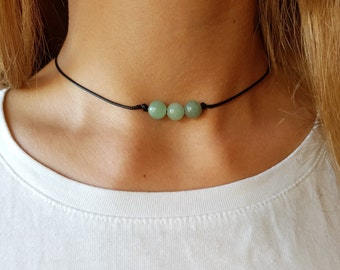 Nephrite Choker, Gemstone Choker, Boho Choker, Bohemian Choker, Thin Black Choker, Green Bead Choker, Black Choker, Choker Necklace, Simple