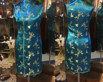 1990' authentic chinese short, sleeveles blue-gold dress. Size XS.