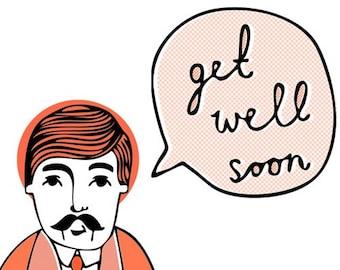 Wes Says Greeting Card - Get Well Soon (orange)
