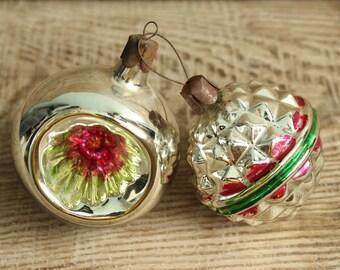 Christmas ornament ... set of 2 Soviet Vintage Christmas ornaments Made of Glass in USSR, christmas tree decoration