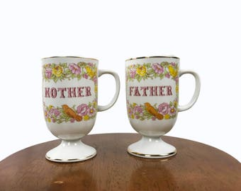 SALE - Birth Announcement Prop - 1970s Norcrest Mother and Father Coffee Mug Set - Porcelain Coffee Mugs - Gold trimmed porcelain