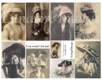 VICTORIAN LADIES HATS, digital collage sheet, vintage women girls, vintage photos postcards, Edwardian fashion altered art ephemera Download