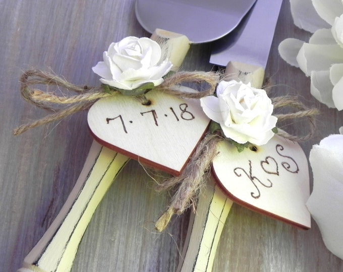 Rustic Chic Wedding Cake Server And Knife Set, Cream and White, Personalized Wood Hearts, Bridal Shower Gift, Wedding Gift