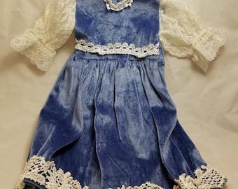 """Vintage 18"""" doll blue velvet dress"""