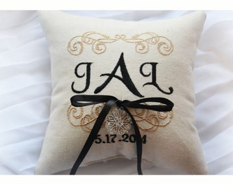 Rhinestone Ring bearer pillow, wedding ring pillow , Linen Monogrammed ring pillow , Custom embroidered ring bearer pillow (R37)