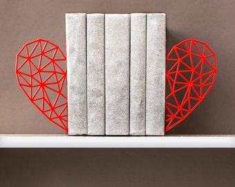 Bookends Heart Book shelf decor Metal bookends Geometric decor Book ends Home decor Girl boss Office decor Minimalist decor - red