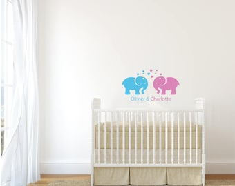 Vinyl sticker mural for twins • elephant with custom name and colors