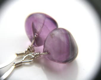 Purple Fluorite Earrings . Healing Jewelry . Simple Drop Earrings . Purple Earrings - Chakra Collection