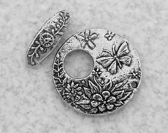 Green Girl Studios Pewter Butterfly Toggle Clasp