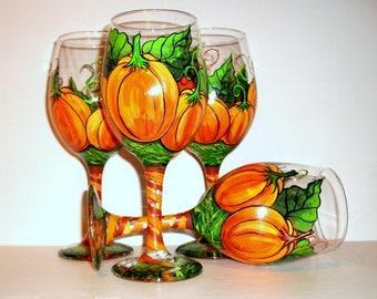 Thanksgiving Decor Pumpkins with Leaves & Vines Hand Painted Wine Glasses Set of 4 -20 oz White Wine Pumpkin Tableware Glassware Halloween