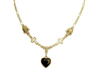 GOTHIC DOLL NECKLACE short dainty dark gothic jewelry fantasy villains black heart shape love gift for her bronze lolita skull pendant