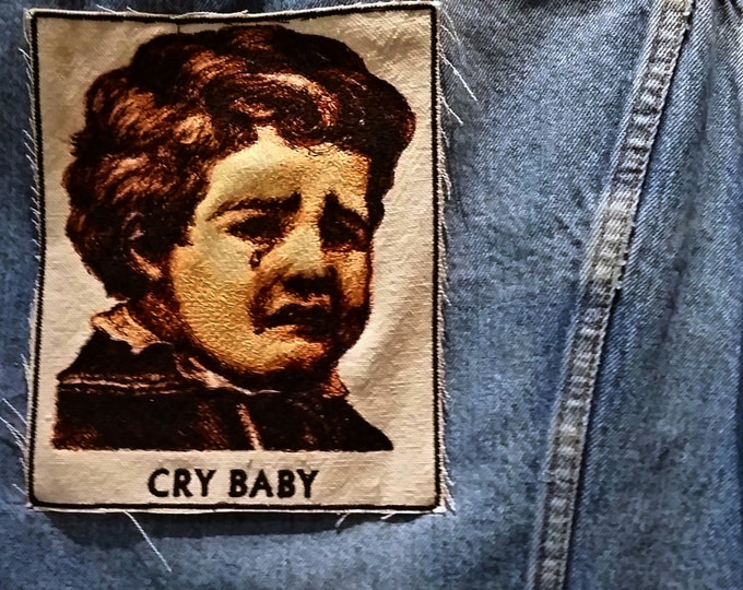 Embroidered Vintage Graphic Cry Baby Upcycled Canvas Iron On Jacket Patch
