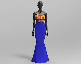 African Print/ Kente Evening Strapless Gown, Prom Dress, Bridesmaid Dress