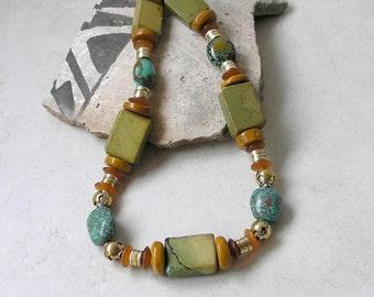 Turquoise Necklace Geometric Southwestern December Birthstone Healing Stones Metaphysical