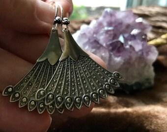 Silver Oxidyzed Earrings Boho Silver Earrings Tibetan Silver Jewelry