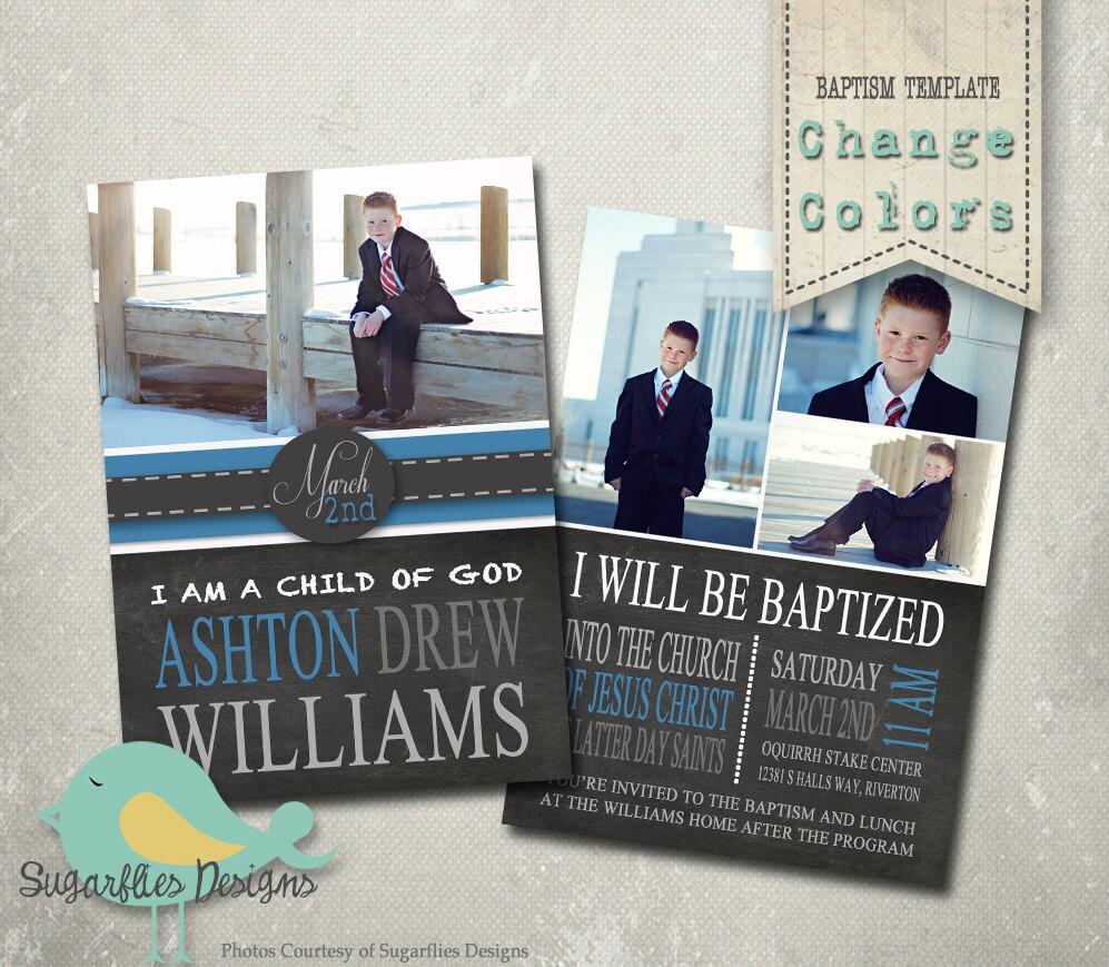 Baptism Invitation Photoshop Template Baptism Boy 01
