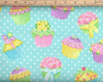 Flannel , cupcake w/ silver glitter,on Light Blue background.
