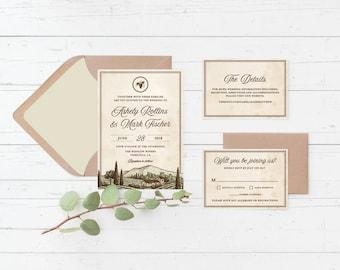 Vineyard Tuscan Printable Wedding Invitation Suite, Winery, Italian, Wine, Custom Printable Wedding Invite Set