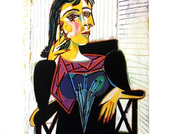 Dora Maar Seated - Picasso Reproduction Print - 1980 Vintage Book Page - Fine Art Print - For Framing - 9 x 11