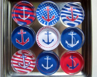 Anchor Refrigerator Magnets, Set of 9 Sailing Nautical Theme Anchor Fridge Magnets in Storage Tin