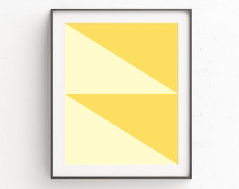 Yellow Wall Poster, Geometric Wall Poster,  Gallery Printable, Yellow Wall Art Decor, Triangles, Geometric Decor, Modern Art Print, Download