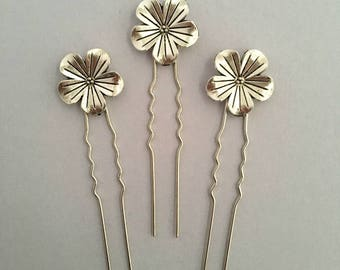 Bridal hair pins, bridesmaid hair pins, flower hair pins, silver hair pins