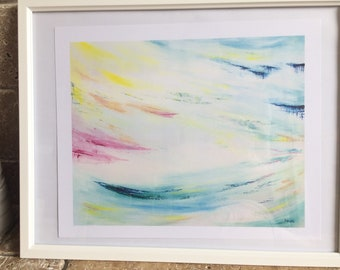Print of original art, light skies, fantasy sky, light and airy, sea and sky painting, landscape, seascape, pastel colour, pastel color