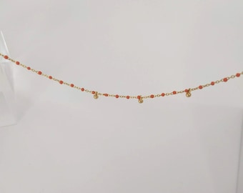 Gold Coral Necklace, dainty coral necklace, coral bead necklace, tiny coral bead necklace, tiny gemstone necklace, Pink Peach Coral Necklace
