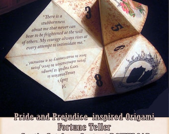 Price and prejudice quotes.  Origami Fortune Teller . cootie catcher . game . DIY toy . Digital DOWNLOAD . Paper Crafting . wedding Favor