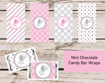 Pink Elephant Printable Mini Candy Bar Wraps, INSTANT DOWNLOAD, Baby Shower Favor, Miniature Candy Wrapper, Chocolate Wrap, Baby Girl