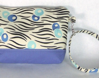 Blue Floral Wristlet / Small Purse / Handbag or Cosmetic Bag