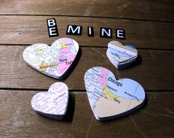 Map Heart Stickers, 24 Large and Small Atlas Map Sticker Labels, Love Heart Packaging, Paper Embellishment, DIY Valentine's Day Cards