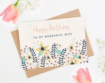 Wife Birthday Card Floral Bright
