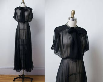 1930s Chiffon Gown / 30s Sheer  Black Dress