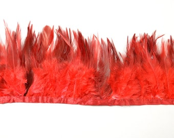 Rooster Saddle Fringe-Feather Trimming, Red two-tone