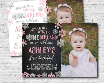 Winter Onederland Invitation with picture, Little snowflake First Birthday Invitation, DIGITAL Personalized Invite, 2 options