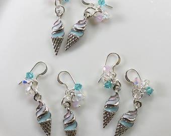 Ice cream cone earrings; summer earrings; ice cream earrings