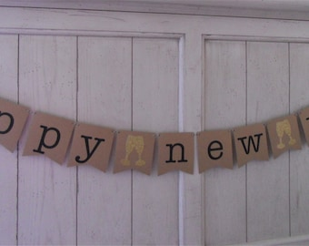 Happy New Year Banner . Happy New Year . New Year's Banner . New Year's Eve . New Year . 2015 . Glitter . Customize Bunting Flag Color