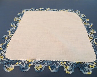 Vintage Variegated Blues/Yellow Crocheted Trimmed Handkerchief