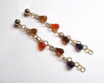 Rainbow Chain Earrings- Amethyst, Carnelian, Hessonite Garnet, Gold Filled