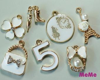 """1 Set 7 Pcs Charms Alloy Medallion """"Alice Clock"""" Purse  Kawaii Bracelets Pendants Studs Cabochon Deco Den Phone Case DIY Deco kit PP046"""
