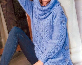 Women blue sweater with hooded scarf / order