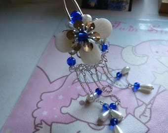 Chinese Sliver Flower and Shells with Pearls and Blue Beads Hair Accessories Hair Stick Hair Pins Hair Clips