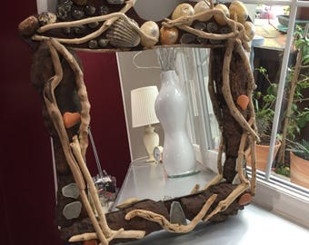 mirror Driftwood wood and shells