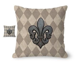 French decor, Fleur de Lis pillow, throw pillow cover, rustic decor, vintage style, fleur de lis decor, tan pillow, French country decor